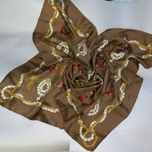 vintage DIOR silk scarf with D-I-O-R jewelery